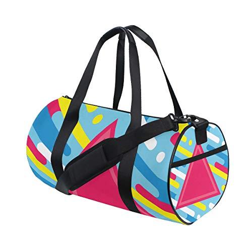ZOMOY Sporttasche,Abstrakte geometrische Musik Dj Cd,Neue Druckzylinder Sporttasche Fitness Taschen Reisetasche Gepäck Leinwand Handtasche