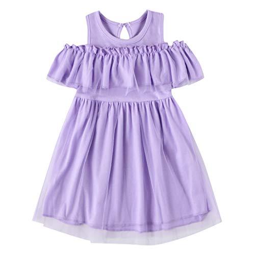 Cover Kleid Mädchen Sommer Einfarbige Tüll Kleid Schulterfrei Kleid Sommerkleid