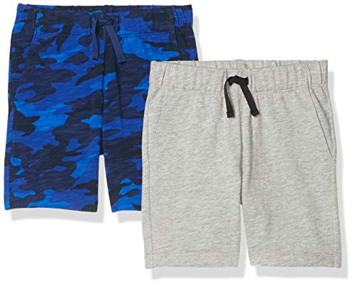 Spotted Zebra Knit Jersey Play Shorts, 2-Pack Blue Camo/Grey, L