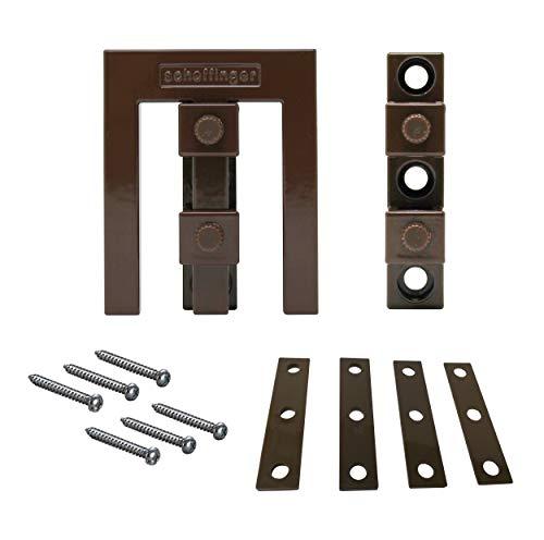 Scheffinger EM3 braun, Set mit Zusatzhülse zur Sicherung von Doppelflügelfenstern und -türen ohne Mittelsteg, Einbruchschutz DIN zertifiziert, hochwertiger massiver Stahl