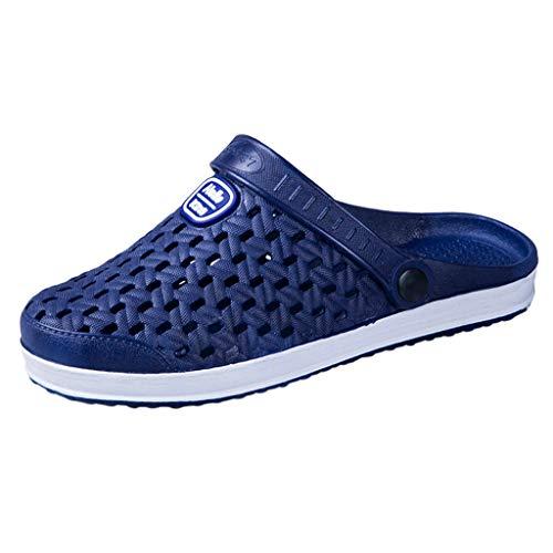 Slippers Herren Leicht Sommer Hausschuhe Atmungsaktive Hohl Sandalen Wohnungen Strand Solid Hook Hollow Out Casual Atmungsaktive Schuhe (43 EU,Blau)