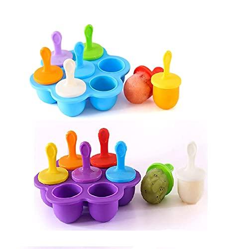 Eisformen Silikon, 2 Stück Eisformen Eis am Stiel Silikon, Silikon Mini Eisformen, Eisförmchen Popsicle Formen