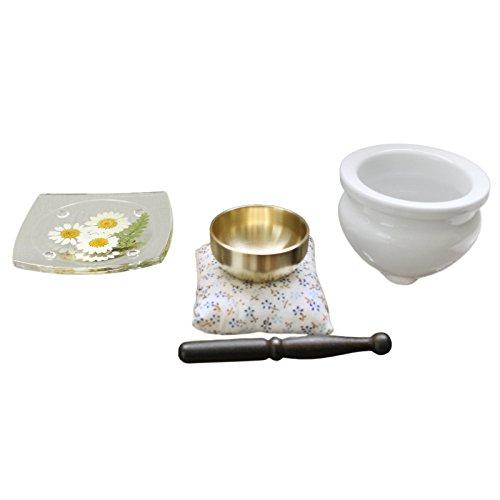 ペット仏具 供物皿 季節の押し花 & おりん & ミニ香炉 香炉灰つき (11月 ノースボール)