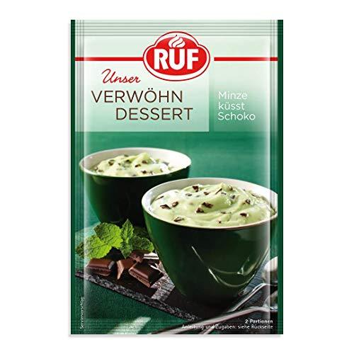 RUF Verwöhn Dessert Schoko Minz wie Pfefferminzpraline, Zartbitter-Schokolade-Minzgeschmack, fluffige Creme mit dem Geschmack der englische Minzplättchen, 13er Pack (13 x 70 g)