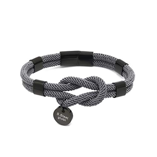 globi Paracord Braided Rope Bracelet for Men Women | Lightweight Nautical Unisex Cuff Bracelet with Stainless Steel Magnetic Clasp (Anchor Gray, 8)