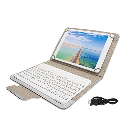 Sxhlseller Juego de Fundas de PU para Tableta con Soporte de Estuche Protector de Teclado Bluetooth Blanco para Tabletas de 9,7 a 10,1 Pulgadas(Estuche de Cuero Blanco)