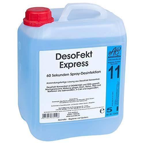 Flächen Desinfektionsmittel 5l DesoFekt Express Schnelldesinfektion | Flächendesinfektion Premium Qualität made in Germany | Assindia Qualitätsprodukt 5 Liter Kanister