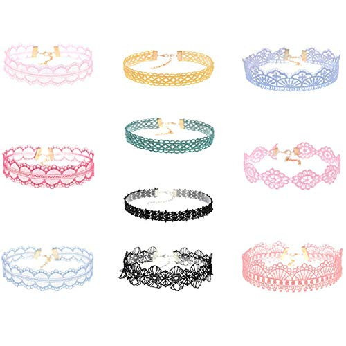 10Pcs Womens Choker Necklaces Assorted Color Lace Charm Stretch Gothic Tattoo Chokers Necklace Set for Women Girls Ladies