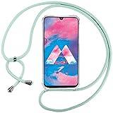 Ingen Funda con Cuerda para Samsung Galaxy M30/A40S- Carcasa Transparente TPU Suave Silicona Case con Colgante-Verde