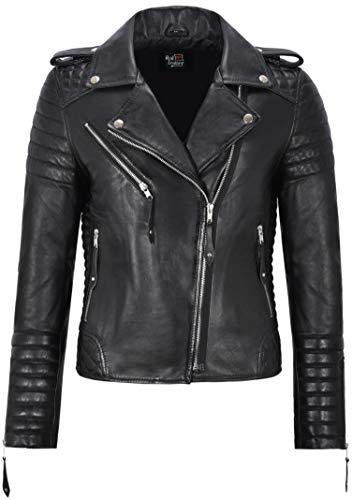 Smart Range Leather Co. Ltd. Giacca da Donna in Pelle Nera Classico Stile da Motociclista 100% Vera Pelle Napa 2260 (12 for Bust 82cm)