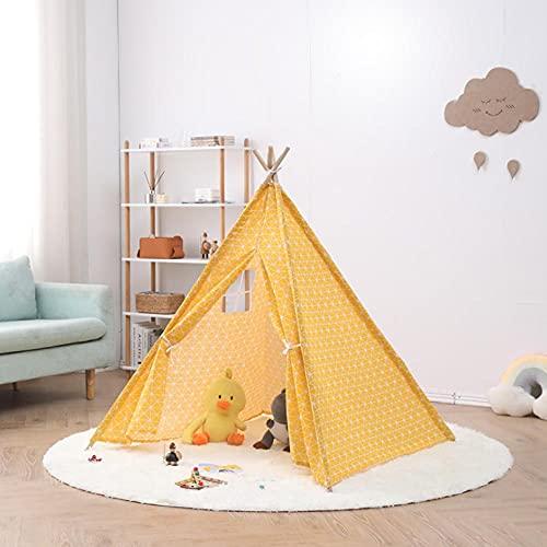 Fnho Tienda Tipi Interior y Exterior para niños,Castle Carpa Toy Play Tent Portable Plegable,Tienda Interior India, casa de muñecas Princesa-Amarillo A_1.6M