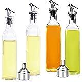 8OZ Olive Oil Dispenser Bottle 4Pack,250ML Glass Oil & Vinegar Cruet Bottle Set with Plastic Pouring Spouts, 2 Funnels and 1 sheet Label