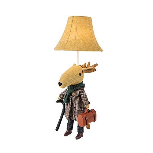 BALIE SPACE Lámpara de pie de algodón para niños, diseño de animales, jirafa, unicornio, alpaca, ciervo con bolsa, lámpara de mesa decorativa de algodón para habitaciones (ciervo)
