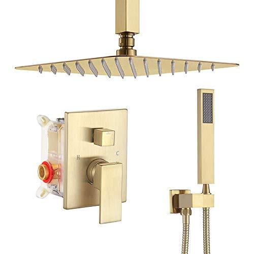 Mezclador de Baño Grifos de Ducha Sistema de Ducha con Ducha de Lluvia y Cabezal de Ducha Manual con Limpieza Automática de Boquillas Incluida la Válvula de Control