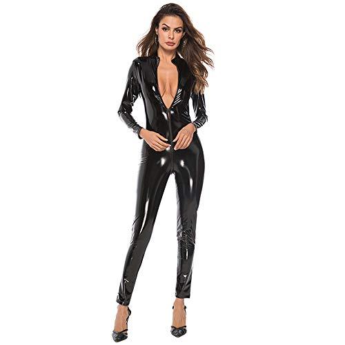 KILLM Cuero Sexy Lenceria Mujer Pantalones Cremallera Charol Apretados Cuero Siamés PU,Negro,M