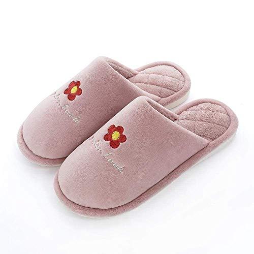 SLM-max Zapatillas Unisex,de Interior Bordadas con Flores, Zapatos de Otoño Invierno para Mujeres y Hombres, Zapatos cálidos de Felpa Suave, Diapositivas para el hogar, Calzado cómodo