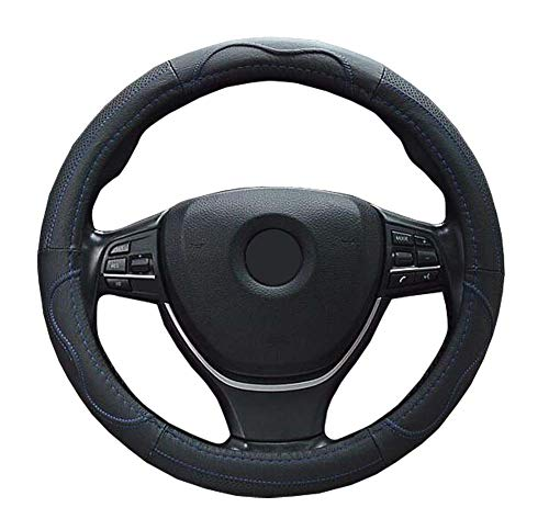 ZATOOTO 車用ハンドルカバー 軽自動車 本革 Sサイズ メッシュタイプ 通気性よし 太め グリップ感よし ステアリングカバー ブルー LY112-L