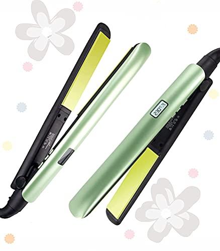 Plancha plana 2 en 1 para el cabello, de 1 pulgada, de titanio nano plano, con opciones de calentamiento de temperatura ajustables, plancha plana para pelo corto (verde mate)