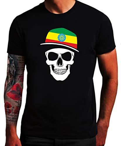 Äthiopien - T-Shirt - Skullz Fahne - Totenkopf ETH SC (XL)
