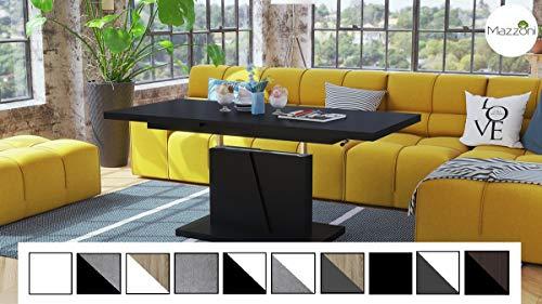 Design Couchtisch Tisch Grand Noir Schwarz matt stufenlos höhenverstellbar ausziehbar 120 bis 180cm Esstisch