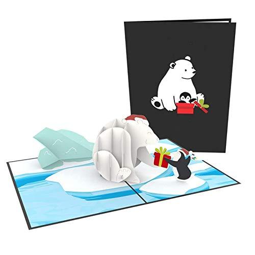 """PaperCrush® Pop-Up Karte Winter """"Eisbär & Pinguin"""" - Lustige 3D Geburtstagskarte für Kinder (Mädchen und Jungen) oder Freundin - Handmade Geschenkkarte zu Kindergeburtstag oder Weihnachten"""