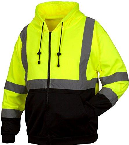 Pyramex RSZH3210XL Hi-Vis Lime Safety Zipper Sweatshirt with Black Bottom, Extra Large, Green