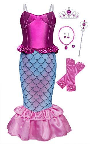 AmzBarley Princesa Sirenita Ropa Disfraz Sirena Vestido Nia Accesorios Boda Fiesta Cumpleaos Cosplay Halloween Navidad Carnaval Bautizo 5-6 Aos