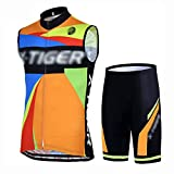 YXX Deportes Ropa Ciclismo Chaleco Paraviento Wind Bike Biking Wear+Culotes Ciclismo Reflectante Transpirable,Naranja,XXXL