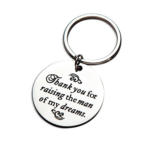 Mother's Day Mother in Law Gift Thank You for Raising The Man of My Dreams Future Mother Groom Bride Wedding Keychain Key Ring Pendant for Birthday (with Gift Box)