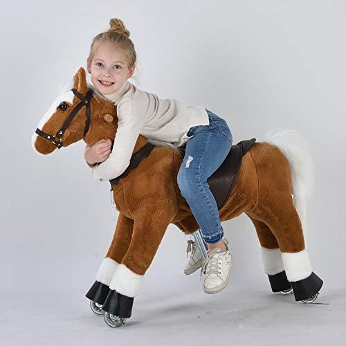 UFREE Cheval d'action poney, monter sur jouet, cheval mécanique mobile, haltérophilie pour les enfants de 4 à 9 ans, hauteur 93 cm(Crinière et queue blanches)