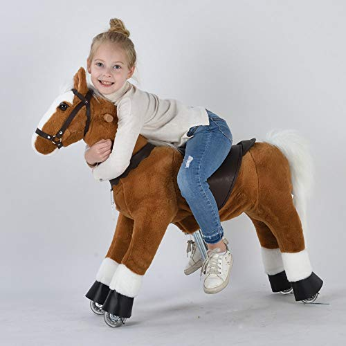 UFREE Horse Great Present for Girl, Go Go Pony Toy, Ride on Large 36'' for Children 4 Years Old to 9 Years Old. (White Mane and Tail)