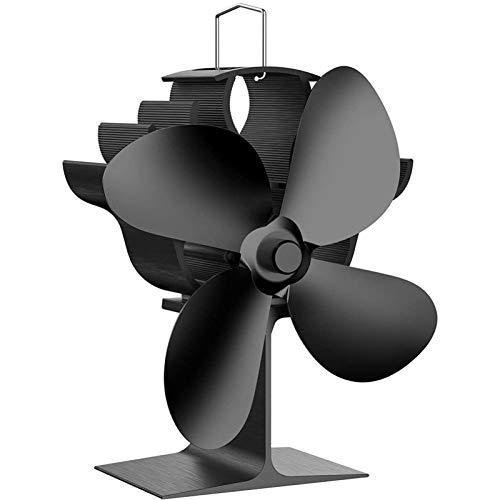 MQQ Holzofenventilator, 4 Klingen Wärmebetriebene Kaminventilator, Silent Wärmebetriebener Holzherd-Fan, Kein Strom erforderlich, for Gas/Pellet/Holz Log Brenner Kamin mit Magnetthermometer