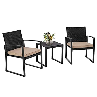 Crownland Outdoor Patio Furniture 3 Piece Bistro Set Chairs Wicker Rattan Conversation Furniture and Thickened Cushions,Glass Coffee Table for Backyard Porch Poolside Lawn(Brown)