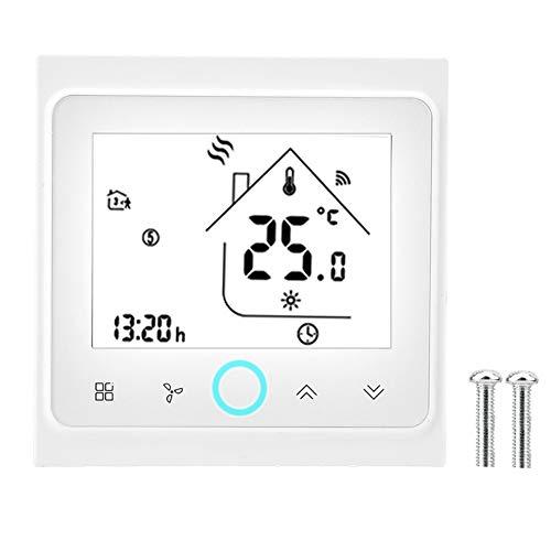 Termostato inalámbrico programable, termostato de calefacción eléctrica WiFi, termostato de aire acondicionado central, control de temperatura, pantalla táctil LCD (4 tubos)
