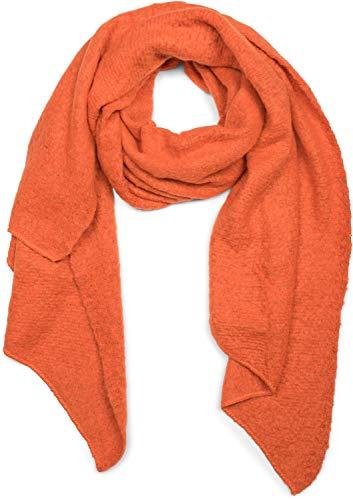 styleBREAKER Damen weicher unifarbener Web Schal in asymmetrischer Form, Winter, Stola 01017118, Farbe:Orange