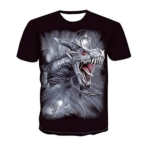 LXZ 3D Patrón Impreso Camisetas,Unisex 3D Impresión Dragón Camiseta Suelto Hombre Cuello Redondo Manga Corta Fitness Ocio Exterior Verano Top-2Xl