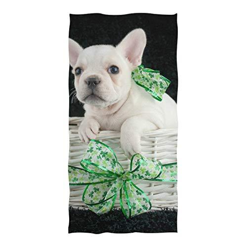 Beach Towel Large Soft Bath Towel Absorbent Towels Multipurpose (74'x37') French Bulldog Puppy Shamrock Ribbon