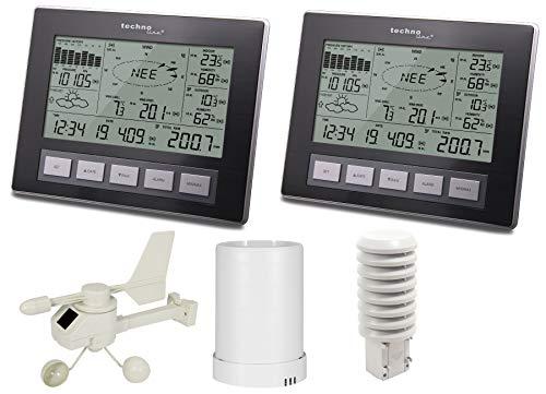 Technoline Profi Funk Wetterstation WS 2816 Plus mit 2 Displays, Windmesser, Regenmesser, Thermo-Hygrosender, PC Auswertung (schwarz ohne Batterien)