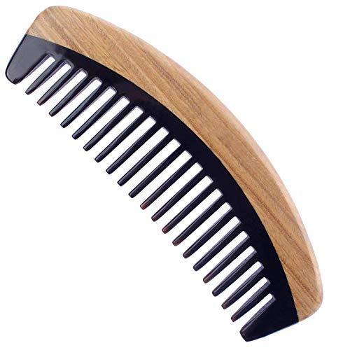 YNHNI Peine de madera para el pelo – Peine de madera para desenredar el pelo rizado, no estático sándalo, cuerno de búfalo, para hombres y mujeres