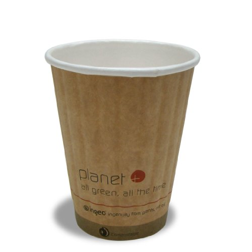 Planet+ 100% Compostable PLA Laminated Double-Wall Insulated Hot Cup, 8-Ounce, 1000-Count Case