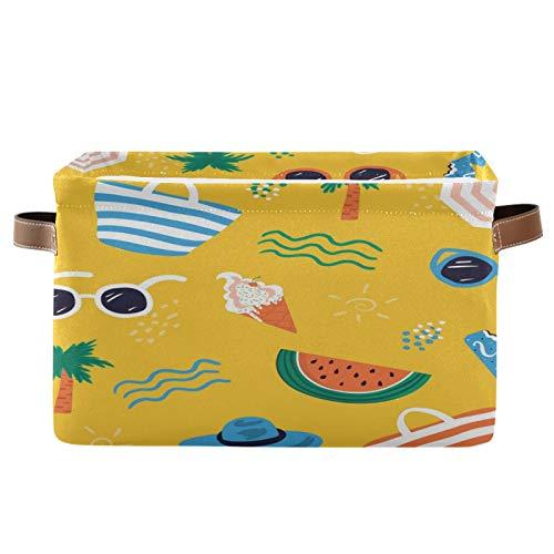 JinDoDo - Cestas cuadradas de almacenamiento con diseño de sandía y gafas de sol de verano, plegable, impermeable, interior para armario de baño, juego de 1