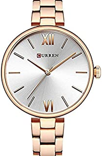 Curren 9017 Quartz Movement Round Dial Stainless Steel Waterproof Women Watch - Rose Gold, Silver