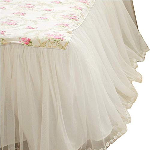 LELVA Dust Ruffled Bed Skirts Queen Size Wrap Around Lace Bed Ruffle with Platform 18 inch Deep Drop Cotton Floral Girls Bed Sheets White