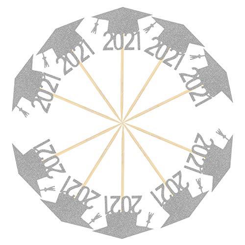 Amosfun 24 pezzi 2021 topper per cupcake, decorazione per torta con glitter, carta per cupcake, plettri per cupcake, per il 2021, laurea, festa di laurea, festa, decorazione per torte, colore argento