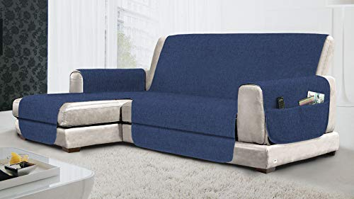MB HOME BASIC Funda de sofá Antideslizante con Chaise Longue SX Relax, Royal, 190 cm
