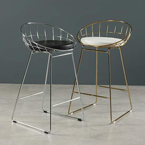 Set di 2 sgabelli da bar, sedie da bancone, sedia da bar per cucina sala da pranzo, sgabello da bancone con schienale, sedile in pelle PU nera e bianca, gambe in metallo, altezza seduta 65 cm