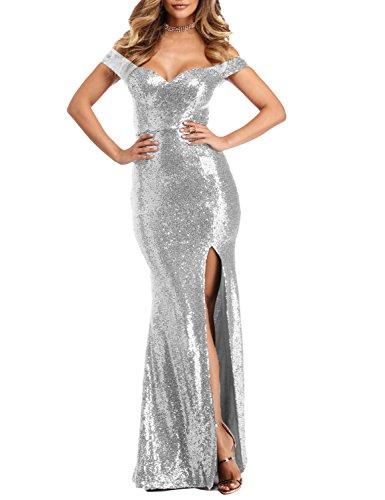 YSMei Women's Long Off Shoulder Sequins Cocktail Party Dress Split Mermaid Wedding Gown Silver 12