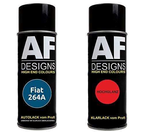 Autolack Spraydose Set für FIAT 264A Blu Digione Metallic Basislack Klarlack Sprühdose 400ml