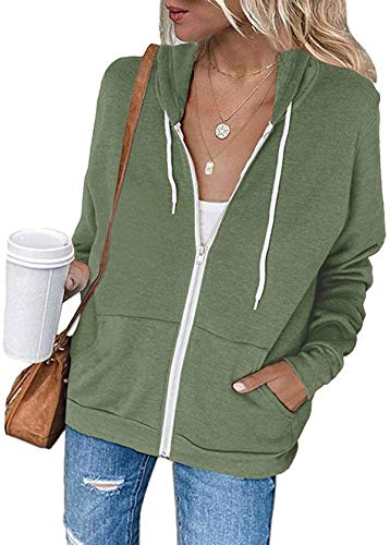 Meilidress Womens Jacket Zip Up Hoodie Sweatshirt Long Sleeve Casual Drawstring Sport Coat with Pockets Army Green