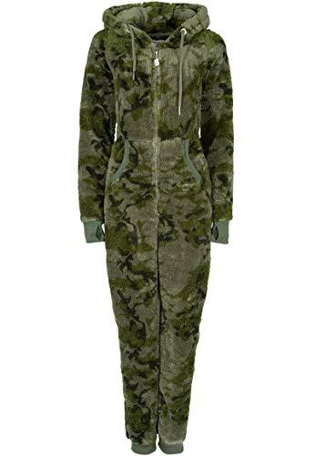 Eight2Nine Damen Jumpsuit Overall aus Teddy Fleece mit Ohren Dark-Green XS/S